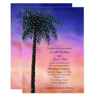 String Lights Palm Tree Sunset Wedding Invitation