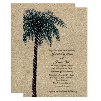 String Lights Palm Tree Wedding Invite Beach Sand