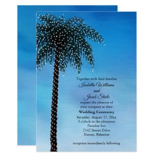 String Lights Palm Tree Wedding Invite Watercolor
