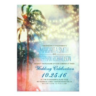 string lights palm trees beach wedding invite