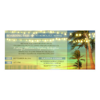 "String Lights Palms Wedding Boarding Pass Tickets 4"" X 9.25"" Invitation Card"