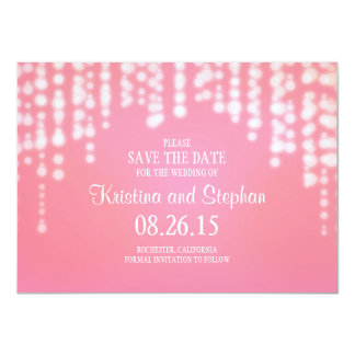 "string lights pink SAVE THE DATE cards 4.5"" X 6.25"" Invitation Card"