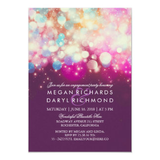 String Lights Purple Engagement Party Card