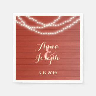 String lights red barn wood napkins disposable napkin