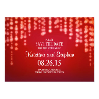 """string lights red SAVE THE DATE cards 4.5"""" X 6.25"""" Invitation Card"""