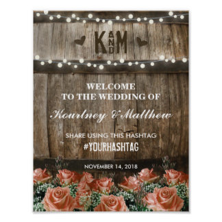 String Lights   Rustic Country Barrel Wedding Poster