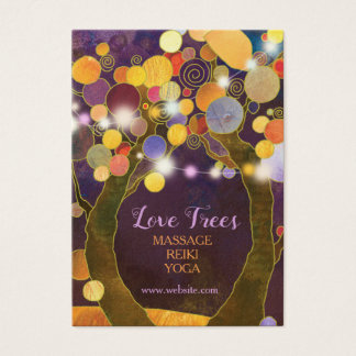 String Lights Rustic Purple Love Trees Business Card