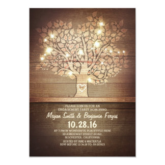 String lights & rustic tree engagement party card