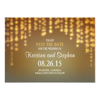 "string lights SAVE THE DATE cards 4.5"" X 6.25"" Invitation Card"