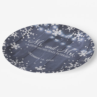 String lights snowflakes mr and mrs wedding paper plate