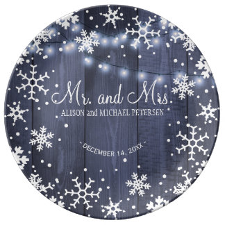 String lights snowflakes mr and mrs wedding plate