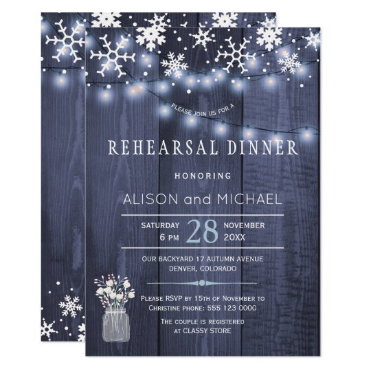 String lights snowflakes winter rehearsal dinner card