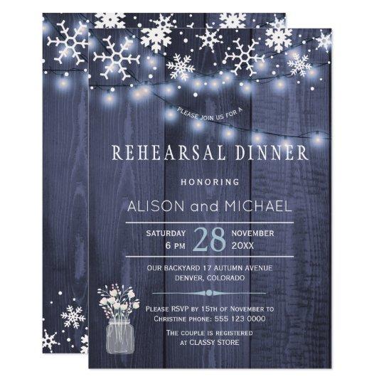 String lights snowflakes winter rehearsal dinner card