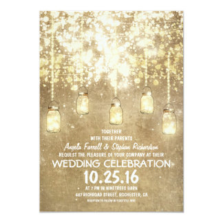 String lights sparkly mason jars wedding invites