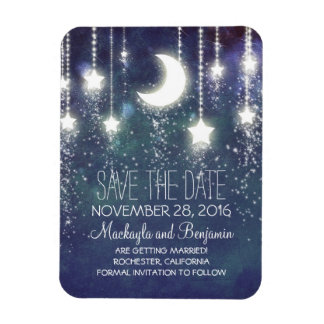 String Lights Stars and Moon Save The Date Magnet