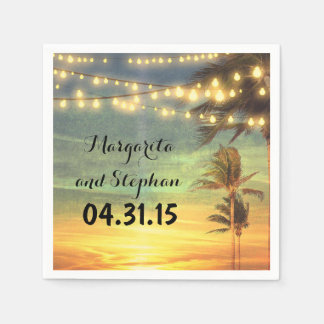String Lights Sunset Beach Wedding Disposable Napkins