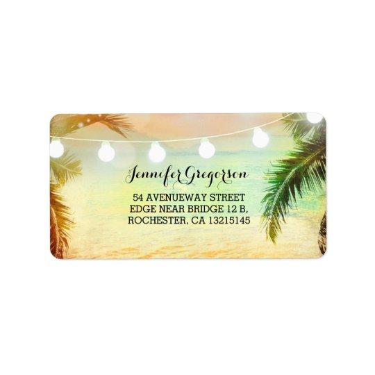 String Lights Sunset Beach Wedding Label