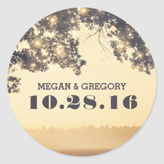 String Lights Tree Branches Rustic Wedding Round Sticker