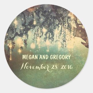 String Lights Tree Outdoor Wedding Classic Round Sticker