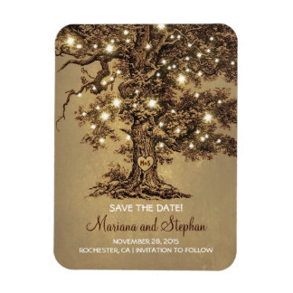 String Lights Tree Rustic Save The Date Rectangular Photo Magnet