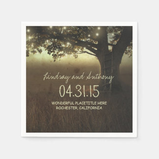 String lights tree rustic wedding paper napkins