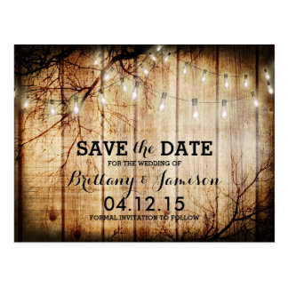String Lights Tree Vintage Barn Wood Save the Date Postcard