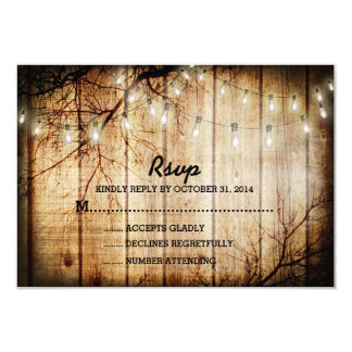 "String Lights Tree Vintage Barn Wood Wedding RSVP 3.5"" X 5"" Invitation Card"
