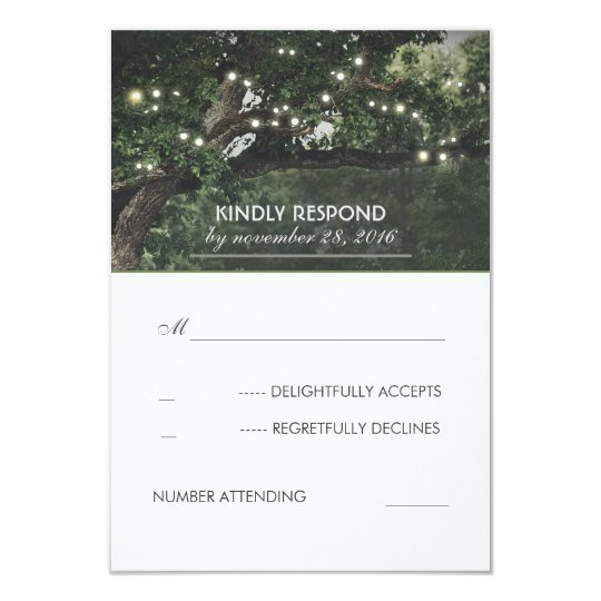 String Lights Tree Vintage Rustic RSVP Card