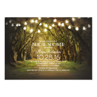 String Lights Trees Path Rustic Bridal Shower Card