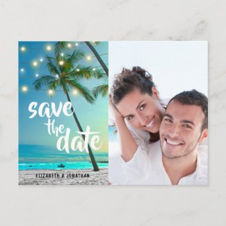 String Lights Tropical Beach Save The Date Photo Announcement Postcard