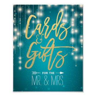 String Lights Turquoise Cards & Gifts Wedding Sign