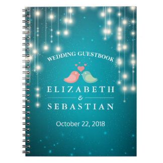 String Lights Turquoise Glitter Wedding Guestbook Spiral Notebook