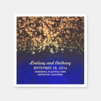 string lights vintage blue and gold wedding paper napkins