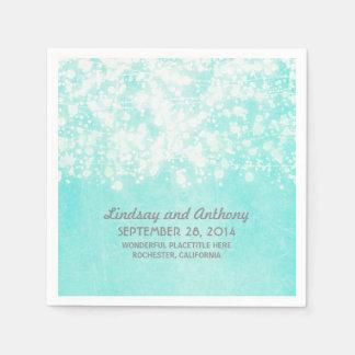 string lights vintage blue wedding paper napkins