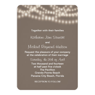 String Lights Wedding Invitation in Taupe