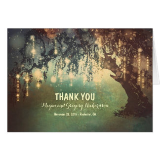 String Lights Willow Tree Wedding Thank You Card