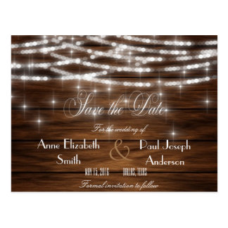 String lights wood Save the Date Postcard
