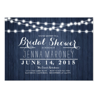 String of Glowing Lights Blue Back Bridal Shower Card