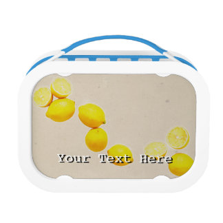 String of Lemons On Vintage Background Lunch Box
