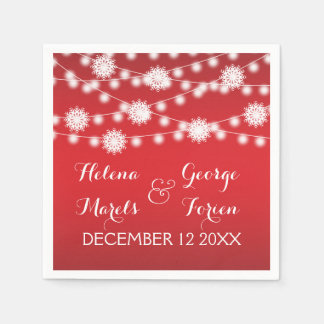 String of lights and snowflakes red wedding disposable napkins