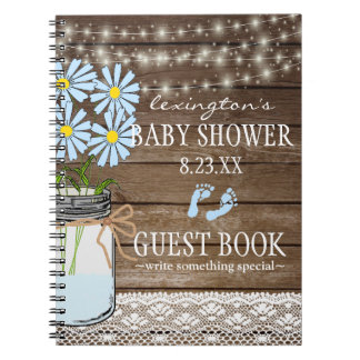 String Of Lights Blue Baby Shower Guestbook | Notebooks