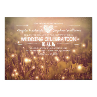 string of lights blush rustic wedding invitation