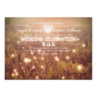 string of lights blush rustic wedding invitation