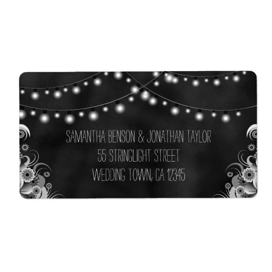 String Of Lights Chalkboard Large Wedding Labels