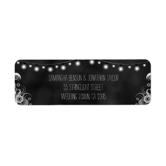 String Of Lights Chalkboard Wedding Small Labels