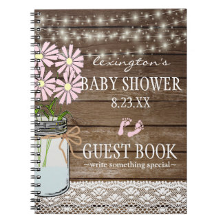 String Of Lights Country Baby Shower Guestbook | Notebooks