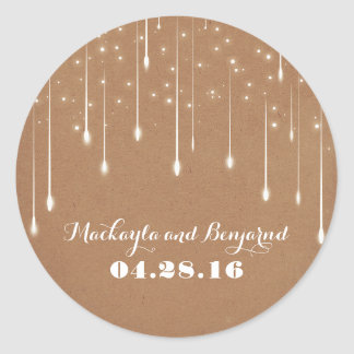 String of Lights Enchanted Wedding Round Sticker