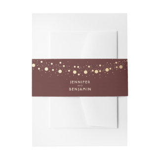 String of Lights Gold and Burgundy Red Wedding Invitation Belly Band