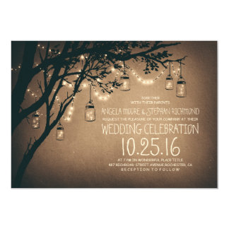 "string of lights mason jars vintage wedding 5"" x 7"" invitation card"