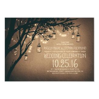 string of lights mason jars vintage wedding card